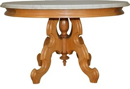 17657 Victorian Oval Walnut Marble Top Coffee Table - $385.00