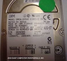 IBM DMCA-20540 540MB 2.5IN IDE Drive Tested Good Free USA Shipping - $39.95