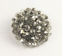 50s ESTATE VINTAGE Jewelry HAND WIRED SILVER METALLIC GLASS CRYSTAL BROOCH - $20.00