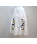 S.L.B. Skirt White Cotton Flare Blue Flower Emb... - $25.00