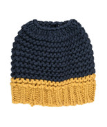 Navy Yellow Messy Bun Ponytail Beanie Cap Hat - Michigan Wolverines Colors - $15.51