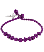 ROSARY BRACELET ADJUSTABLE KNOTTED CORD LENTEN PURPLE WITH METAL CRUCIFIX - $18.80