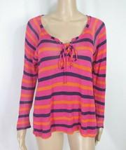 Anthropologie Splendid Lace Up Knit Top S Pink Blue Orange Striped V-nec... - $5.00