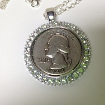 Vintage Rare Birth Year 1944 Washington Silver Coin 20in Sterling Chain ... - $37.95