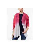 NWT Steve Madden Hot Pink White Sequined Ombré Sheer Kimono Shawl Wrap OS - $14.99