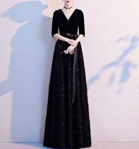 Women Half Sleeve Velvet Maxi Dress High Waist Formal Dress, Black, Plus Size image 1