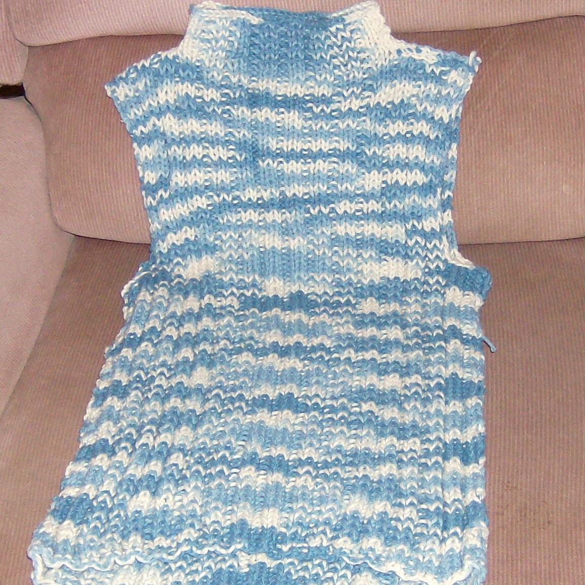 hand knitted tank in denim blue and white cotton top