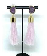 BaubleBar Glitter Studs with Pink Tassel Pierced Earrings - $23.74