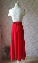 Double Slit Skirt Long RED SKIRT Lady Red High Waisted Party Skirt with Belt NWT image 6
