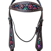 Hilason Western Horse Headstall Bridle American Leather Dark Brown Peace U-E-HS - $63.31