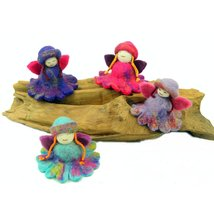 Hand Felted Colorful Flower Fairies - Set of 4 - Global Groove - $19.95