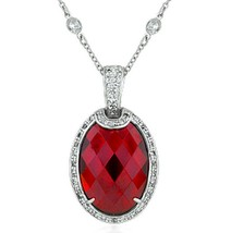 """1.5"""" Ruby Red Cubic Zirconia Cz Pendant on a Silver Gala Fancy Chain Necklace - $89.50"""