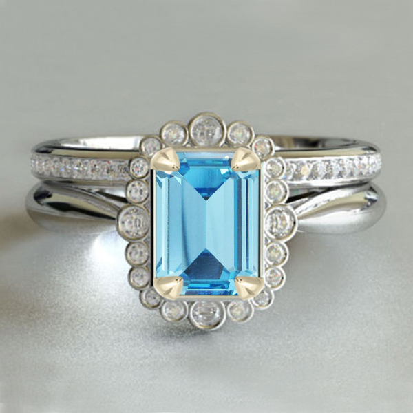 14k White Gold 925 Silver Rectangular Shape Aquamarine Bridal Wedding Ring Set