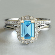 14k White Gold 925 Silver Rectangular Shape Aquamarine Bridal Wedding Ring Set - $92.99