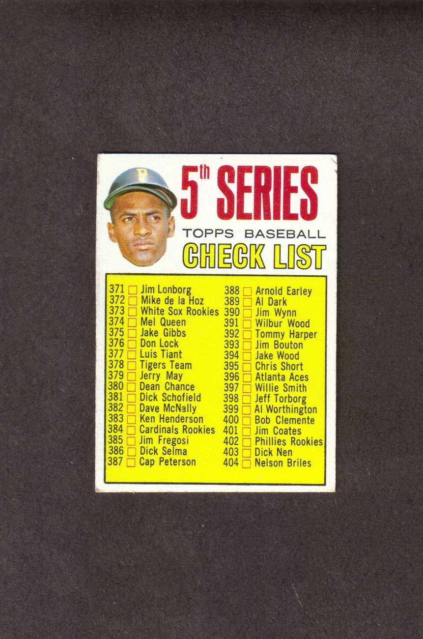 1967 Topps # 361 Roberto Clemente 5th Series Checklist unmar