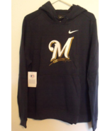 Womens Nike NWT Milwaukee Brewers Navy Blue Hooded Sweatshirt Size XL - $49.95