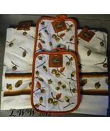 Thanksgiving Harvest Autumn Fall Acorn Leaf Pot Holder Kitchen Towel Set - $12.99