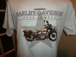 Vtg 90's  White Harley Davidson Motorcycles US Army Cotton TShirt Adult ... - $28.70
