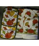 Thanksgiving Harvest Autumn Fall Pumpkin Leaf Pot Holder Kitchen Towel Set - $12.99