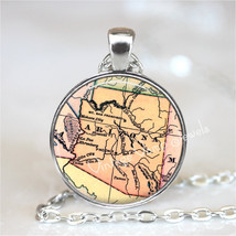 ARIZONA Map Pendant Necklace Glass Photo Art Vintage Map Jewelry Antique USA Map - $12.95