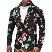 Christmas Snowmen Candy Printed Casual Blazer(MULTI 3XL) - $48.92