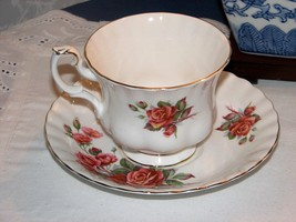 Vintage ROYAL ALBERT CENTENNIAL ROSE TEA CUP SAUCER Bone China Gold Trim... - $14.95