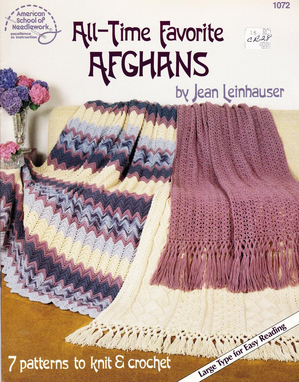 CROCHET ALL-TIME FAVORITE AFGHANS BY JEAN LEINHAUSER - $4.95