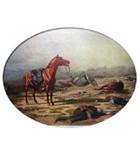 On The Morrow Of Battle-Antique Print-Horse,Fallen Soldiers  - $80.75
