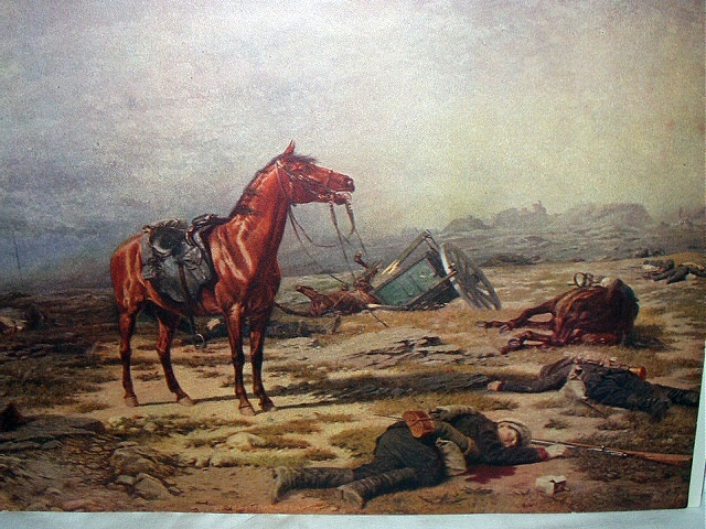 On The Morrow Of Battle-Antique Print-Horse,Fallen Soldiers
