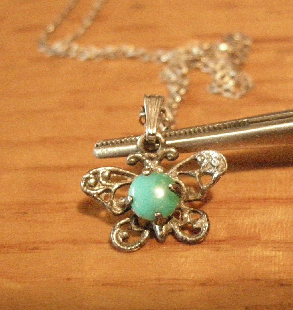 Silv Necklace Butterfly Turquois Pendant