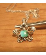 Silv Necklace Butterfly Turquois Pendant - $29.95