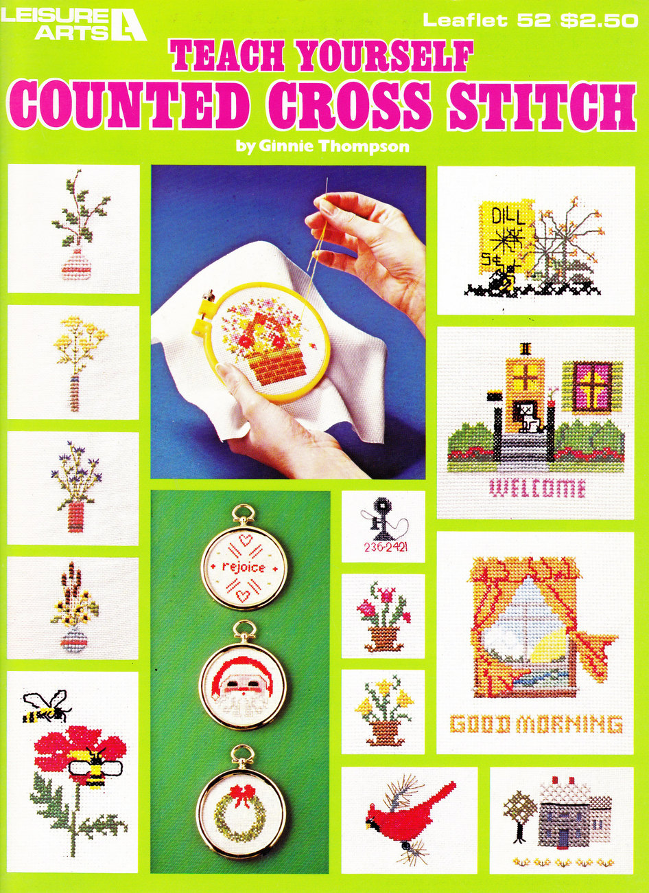 TEACH YOURSELF COUNTED CROSS STITCH LEISURE ARTS 52 VINTAGE CHRISTMAS FLOWERS