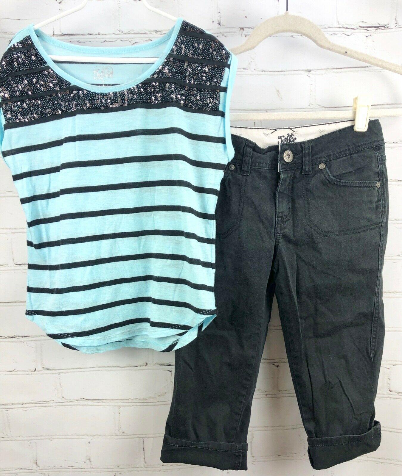 JUSTICE Beaded Stripe Top + Black Capri Pants Girls Size 12 Outfit Set