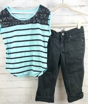 JUSTICE Beaded Stripe Top + Black Capri Pants Girls Size 12 Outfit Set - $34.65