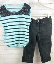 JUSTICE Beaded Stripe Top + Black Capri Pants Girls Size 12 Outfit Set image 1