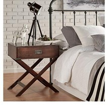 Modern Wood Accent X Base Nightstand Campaign Sofa Table Rectangle Shape... - $178.29