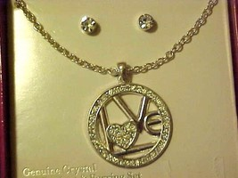 Necklace & Pierced Earrings Crystal Rhinestone Circle Of Love New Boxed Set - $10.40