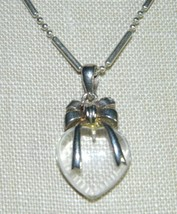 VTG .925 Sterling Silver Clear Lucite Heart Pendant Necklace Italy Made - $74.25