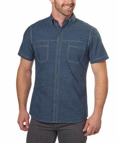 NEW G.H. Bass & Co. Men's Short Sleeve Dark Blue Woven Shirt