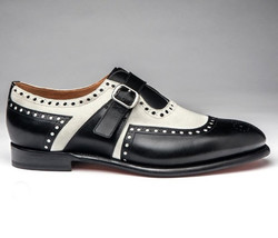 Handmade Black White Monk Strap Shoes, Men's Leather Brogue Dress Formal... - $159.97+