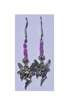 """Earrings Fairy Charm Pink Silver Beads Sterling Wire 2"""" Long - $14.04"""