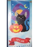 Halloween Cat Jack O Lantern Flag Black Cat Pumpkin NEW - $10.00