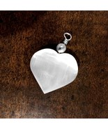 Selenite Crystal Heart Pendant Chakra Love Stone Sterling Silver Necklac... - $12.46