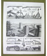 ROMAN MILITARY War Catapults Towers  Mortars -1844 SUPERB Print Engraving - $16.84