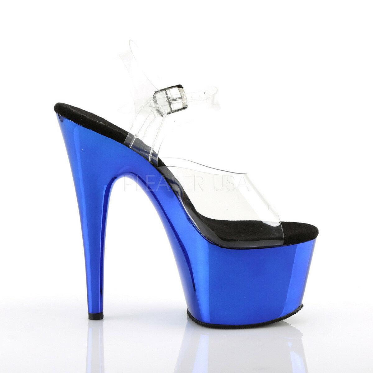 "PLEASER Sexy 7"" Heel  Blue Chrome Platform Pole Dancer Stripper Clear Shoes"