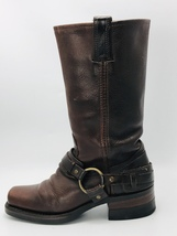 FRYE Women's Belted Harness 12R Boots 77250 Brown Leather Size 6.5M - $2.714,52 MXN
