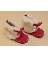 Old Navy Infant Size 3 (6-9 Months) Pink Booties Boots Bow White Faux Fur - $12.84