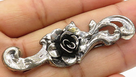 JEWEL ART 925 Silver - Vintage Rose With Swirl Detail Brooch Pin- BP2085 - $25.90