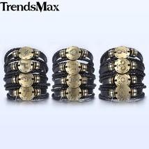 New 12 constellations Men's Leather Bracelet Set 2018 Retro Charm Male B... - $48.23