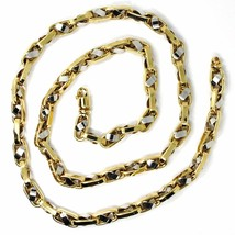 """18K YELLOW WHITE GOLD CHAIN, BIG OVAL CABLE SQUARED ALTERNATE LINK 7mm, 24"""" image 2"""